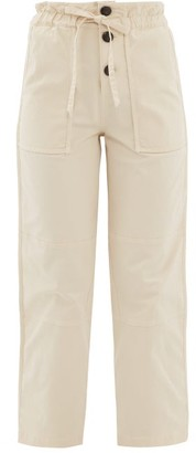 Sea Scout Paperbag Waist Cotton Blend Trousers - Womens - Cream