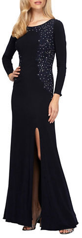 Alex Evenings Alex Evenings Plus Roundneck Long Sleeve Embroidered Gown