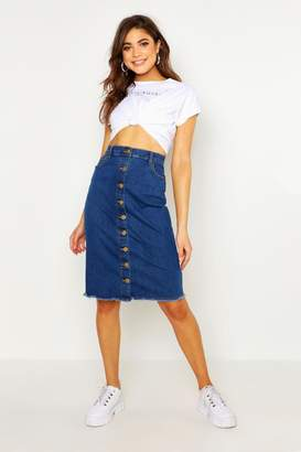 boohoo Button Front Stretch Midi Denim Skirt