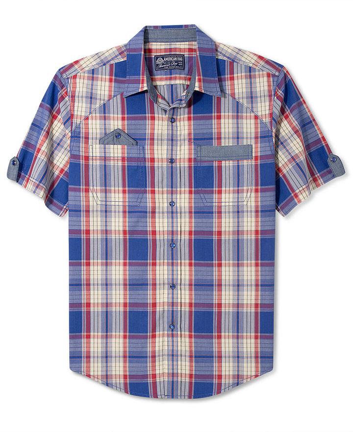 American Rag Shirt, Plaid Chambray Detail Shirt