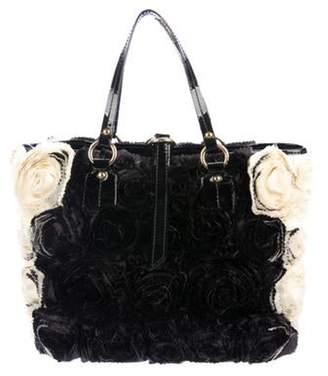 Valentino Silk Rosette Tote Black Silk Rosette Tote