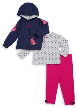 Little Me Baby Girl's Three-Piece Hoodie, Top and Leggings Set