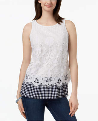 Charter Club Gingham-Hem Lace Top, Created for Macy's