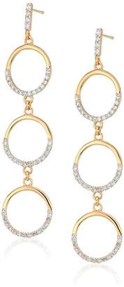 MATEO 14k Gold Three Tier Diamond Circle Drop Earrings