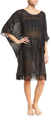 Gottex Regatta Fringe-Hem Striped Caftan Coverup $228 thestylecure.com