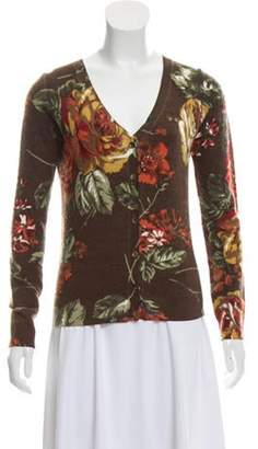 Etro Knit Floral Print Cardigan Brown Knit Floral Print Cardigan
