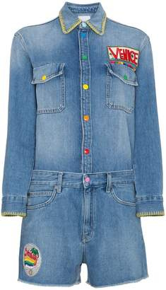 Mira Mikati Patch Denim Playsuit