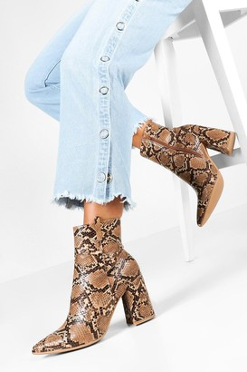 boohoo Snake Pointed Shoe Boots