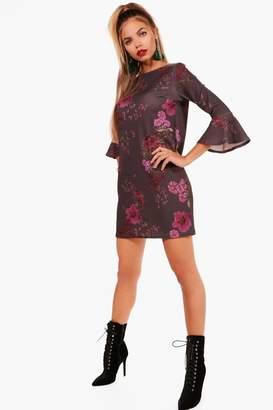 boohoo Flute Sleeve Floral Shift Dress