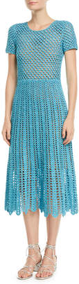 Michael Kors Short-Sleeve Crewneck Crochet A-Line Midi Dress