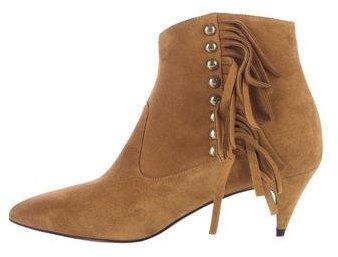 Saint LaurentSaint Laurent Suede Pointed-Toe Ankle Boots w/ Tags