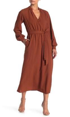 Lush Textured Belt Waist Midi Dress