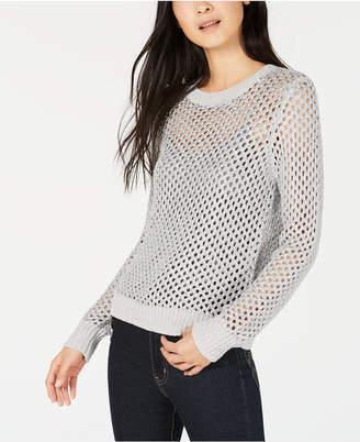 Bar III Open-Stitch Metallic Sweater