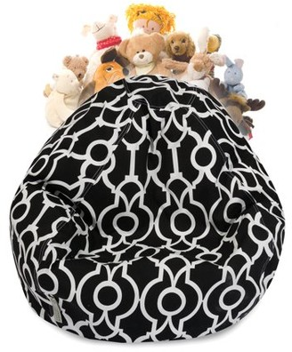 Majestic Home Goods Athens Stuffed Animal Toy Storage Bean Bag Chair with Transparent Mesh Base