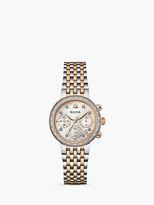 Bulova 98W215 Women's Date Diamond Bracelet Strap Watch, Silver/Rose Gold