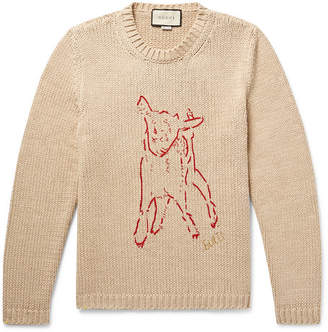 Gucci Intarsia-Knit Ribbed Cotton Sweater