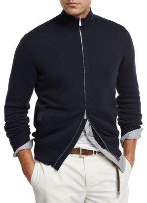 Brunello Cucinelli Full-Zip Cotton Sweater, Navy $1,125 thestylecure.com