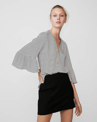 Express Striped Zip-Front Ruffle Sleeve Popover Top