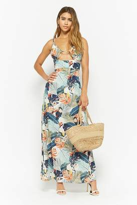 Forever 21 Nature Print Cutout Maxi Dress