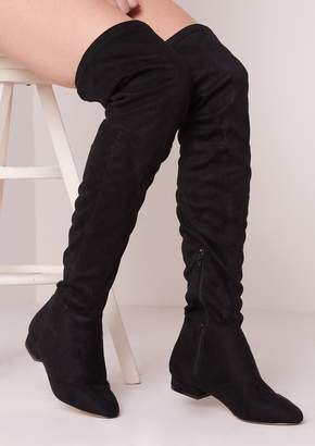 648ab34fd071 at Missy Empire · Missy Empire Missyempire Amira Black Suede Thigh High  Flat Boots