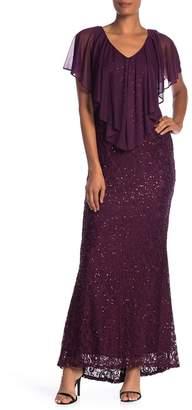Marina Chiffon Popover Lace Maxi Dress