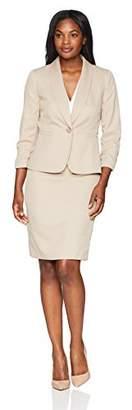 Le Suit Women's Novelty 1 Button Shawl Collar Skirt Suit