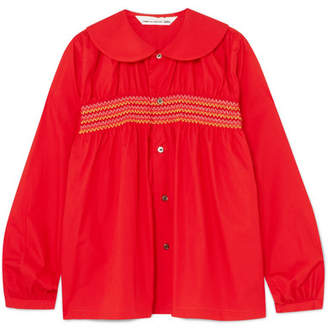 Comme des Garcons Smocked Cotton-poplin Shirt - Red
