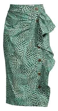Max Mara Women's Musette Animal Print Asymmetric Ruffle Skirt - Green - Size 14