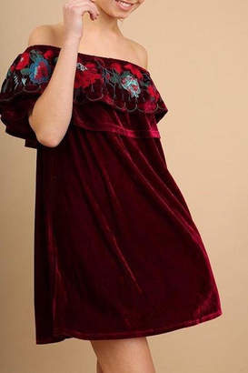 Umgee USA Velvet-Off-Shoulder Dress