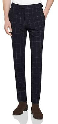 Reiss Sensation Brushed Windowpane-Checked Slim Fit Trousers