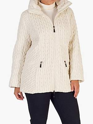 chesca Chesca Cable Embroidered Quilted Coat
