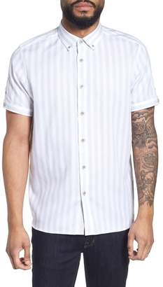Ted Baker Vertical Stripe Trim Fit Short Sleeve Sport Shirt