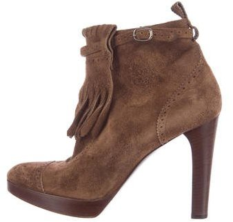 Ralph Lauren Collection Suede Fringe Ankle Boots