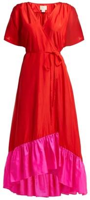 Akari Anaak Silk Satin Wrap Dress - Womens - Red Multi