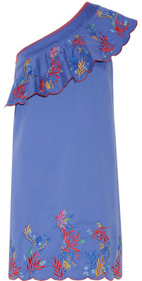Saloni - Esme One-shoulder Embroidered Washed Stretch-cotton Mini Dress - Blue $440 thestylecure.com