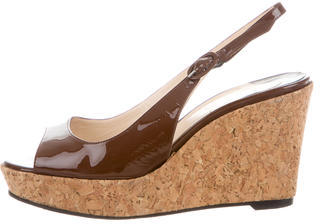 Christian Louboutin  Christian Louboutin Patent Leather Slingback Wedges