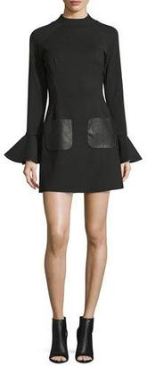 Jovani Bell-Sleeve Stretch Crepe Mini Dress, Black $560 thestylecure.com