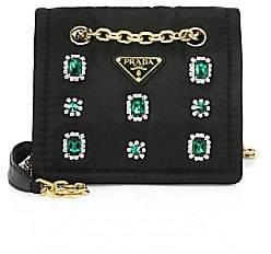 Prada Women's Small Tessuto Jeweled Chain Crossbody Bag