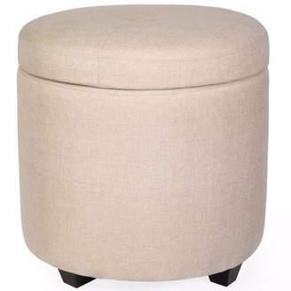 XtremepowerUS Barton Ottoman Fabric Tufted Button Round Storage Chair, Champagne