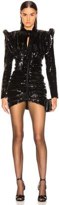 Saint Laurent Sequined Puff Sleeve Mini Dress