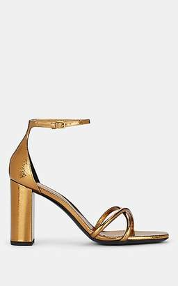Saint Laurent Women's Metallic Leather Ankle-Strap Sandals - Amber