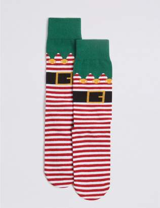 Marks and Spencer Cotton Rich Elf Christmas Socks