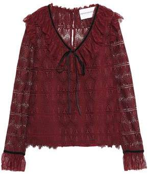 Perseverance Tie-Front Ruffled Macramé Lace Blouse
