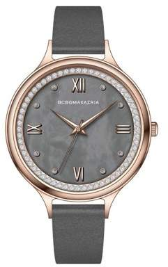 BCBGMAXAZRIA Women's Rose Gold Case Dark Mother Of Pearl Dial Grey Strap Watch