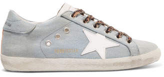 Golden Goose Superstar Distressed Metallic Denim And Leather Sneakers - Light denim