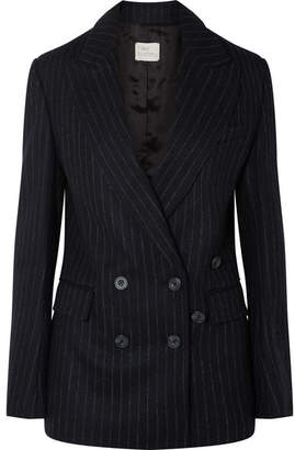 Hillier Bartley - Double-breasted Pinstriped Wool-felt Blazer - Black