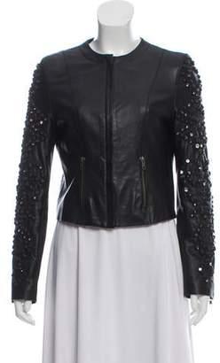 Givenchy Rhinestone-Accented Leather Jacket