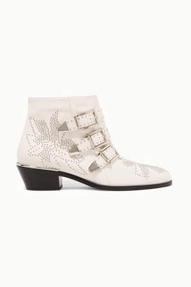 Chloé Susanna Studded Leather Ankle Boots - Off-white