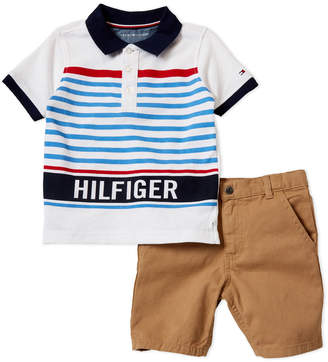Tommy Hilfiger Toddler Boys) Two-Piece Striped Polo & Twill Shorts Set