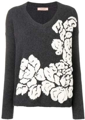 Twin-Set floral patterned knit jumper